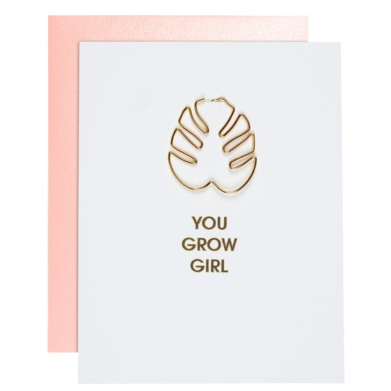 You Grow Girl Paper Clip Letterpress Card