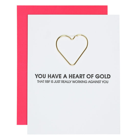 """Heart of Gold"" Funny Friendship Heart Paper Clip Letterpress Card"