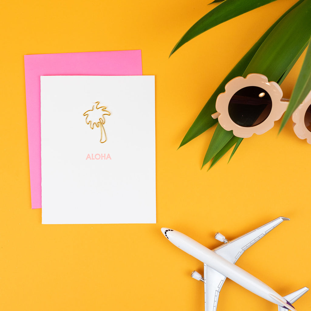 """Aloha"" Palm Tree Paper Clip Letterpress Card"