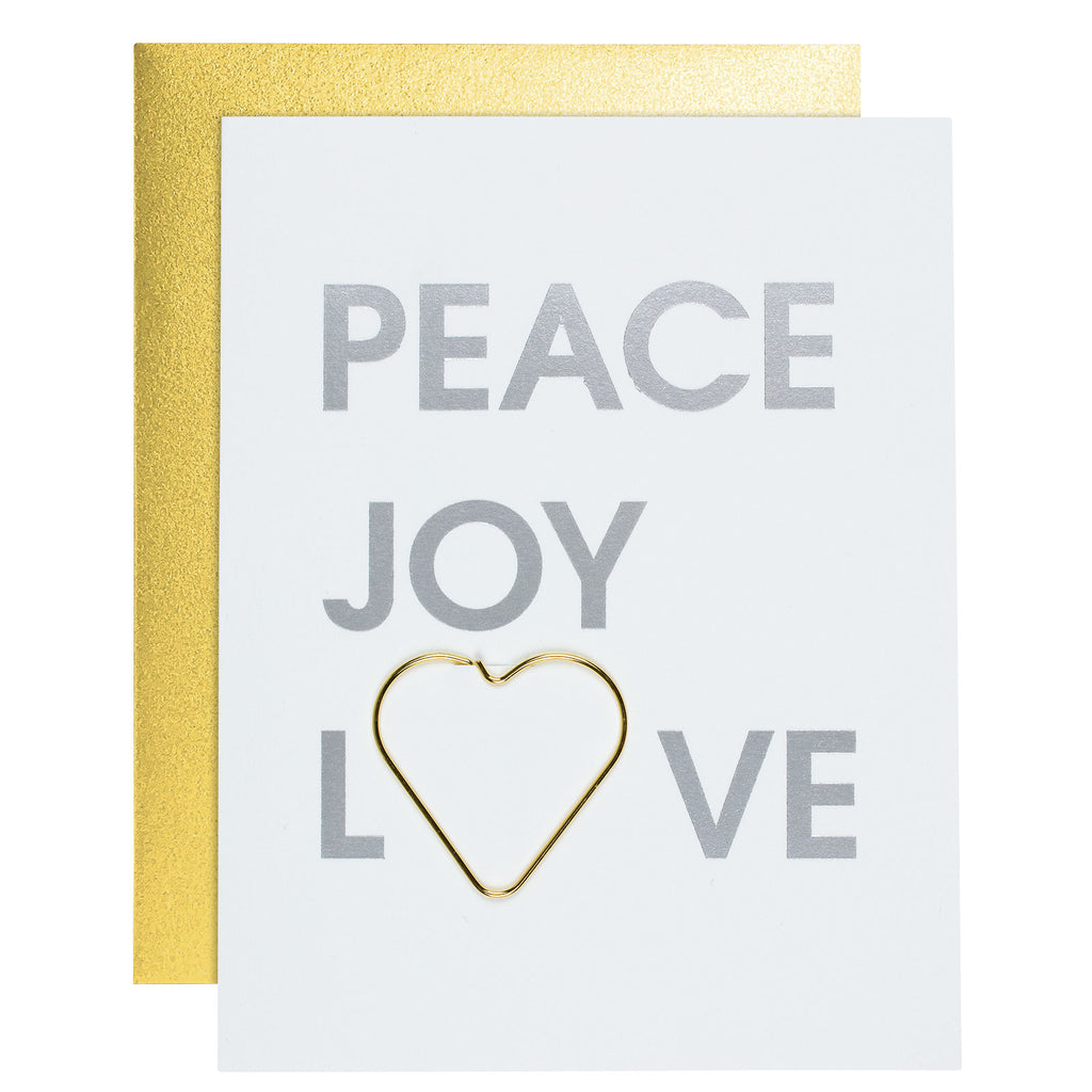 Peace Joy Love Paper Clip Letterpress Card