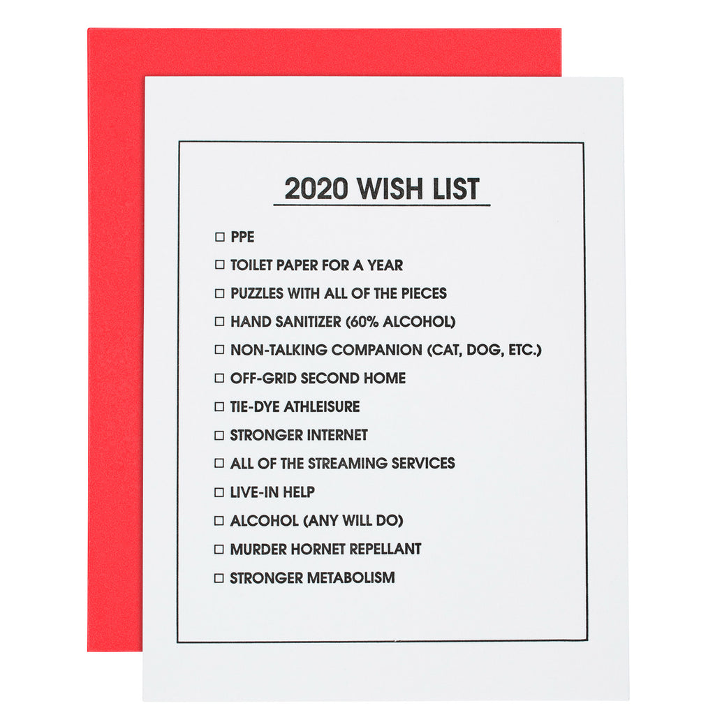 2020 Wish List Letterpress Card