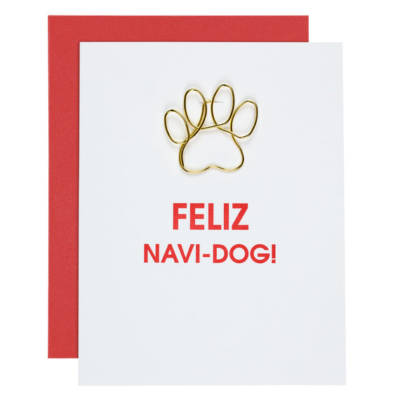 Feliz Navi-Dog Pawprint Paper Clip Letterpress Card