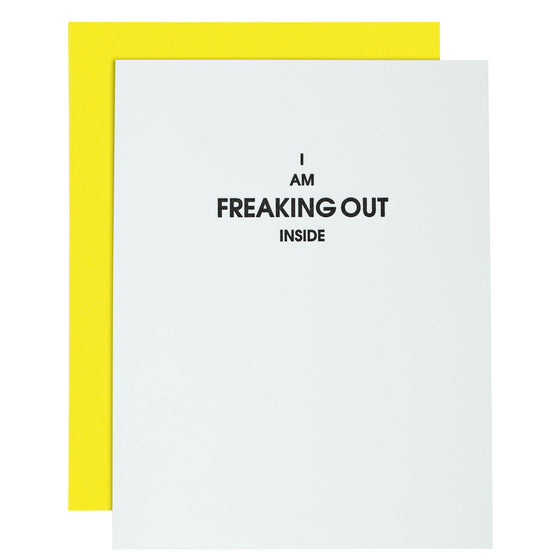 """Freaking Out Inside"" Everyday Letterpress Card"