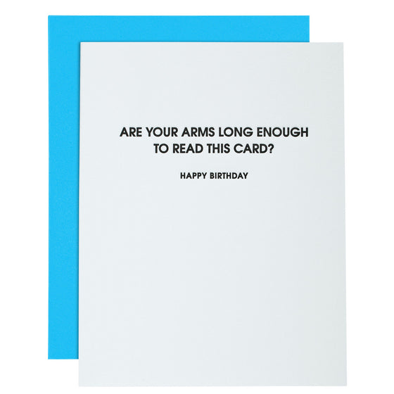 Are Your Arms Long Enough to Read This Card Letterpress Card