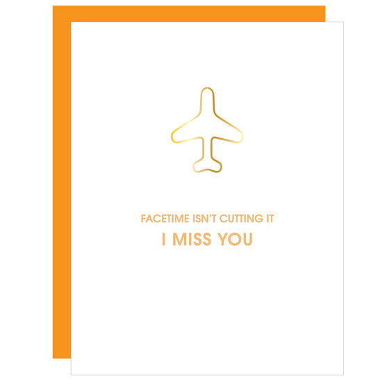Facetime Isn't Cutting It | Airplane Paper Clip Letterpress Card