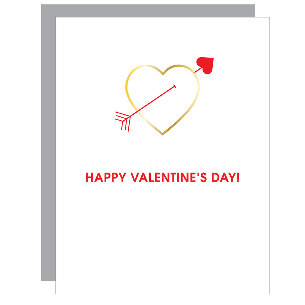Happy Valentine's Day | Heart Paper Clip Letterpress Card