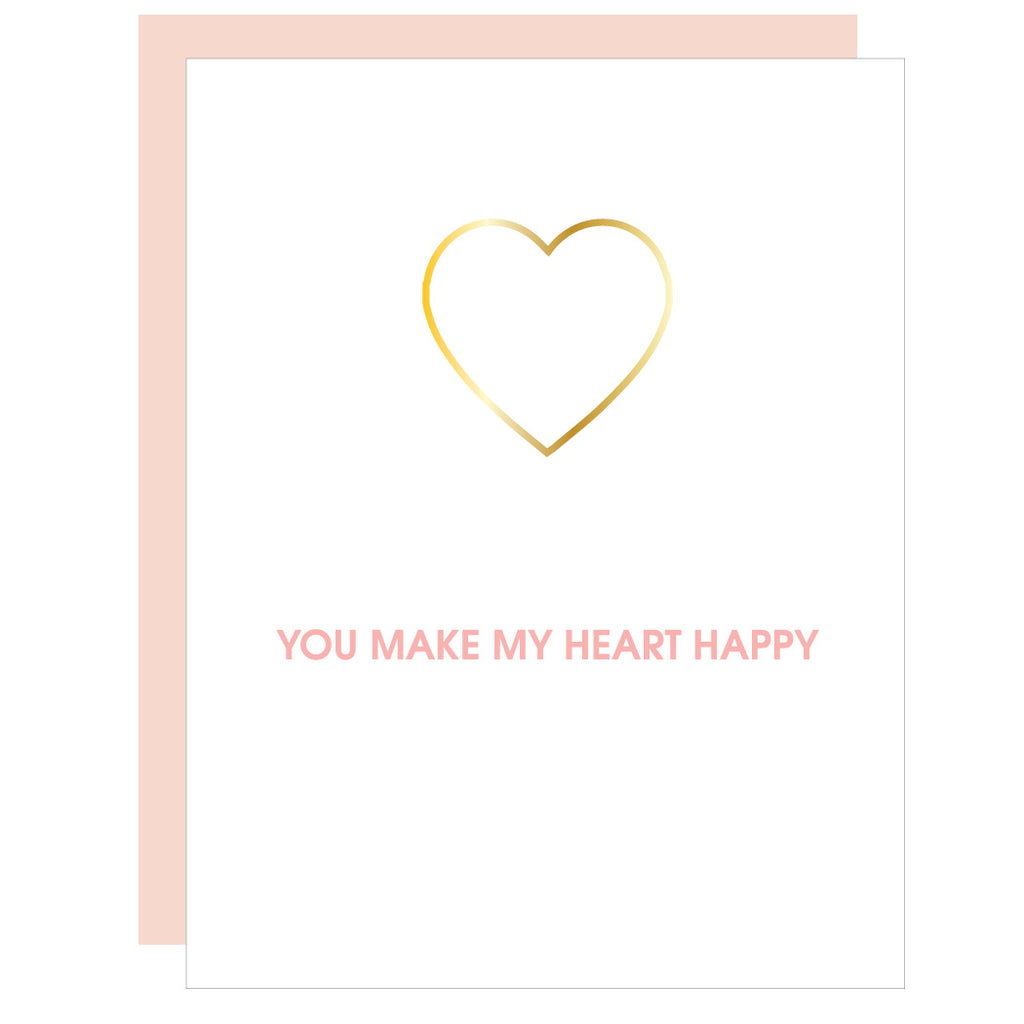 You Make My Heart Happy | Heart Paper Clip Letterpress Card