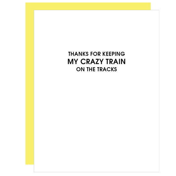 Crazy Train on the Tracks |  Funny Letterpress Card