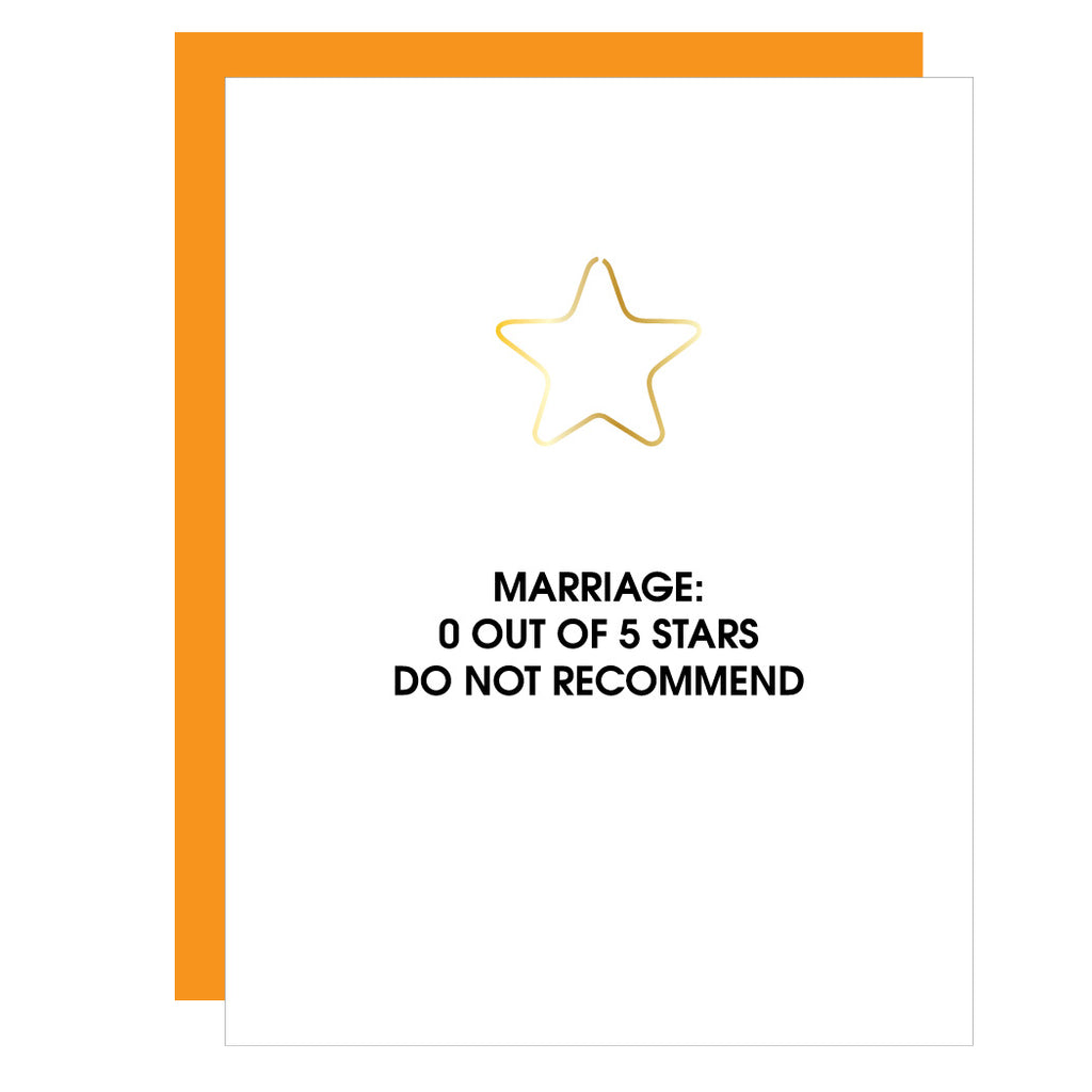 Marriage 0 Stars | Star Paper Clip Letterpress Card