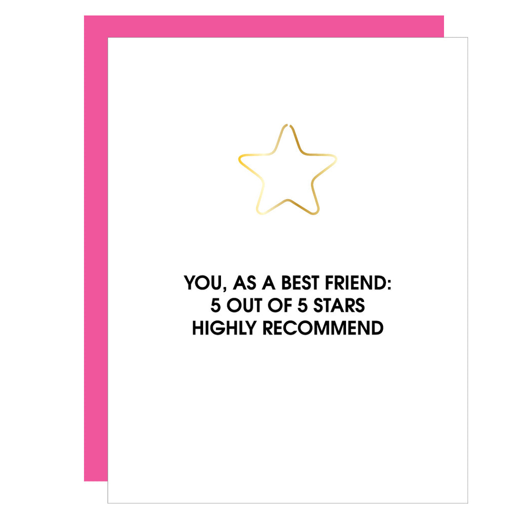 You, as a Best Friend 5 Stars | Star Paper Clip Letterpress Card