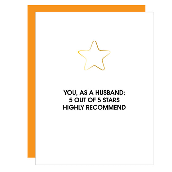 You As a Husband 5 Stars | Star Paper Clip Letterpress Card