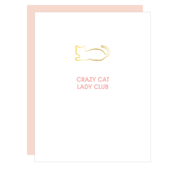 Crazy Cat Lady Club | Cat Paper Clip Letterpress Card