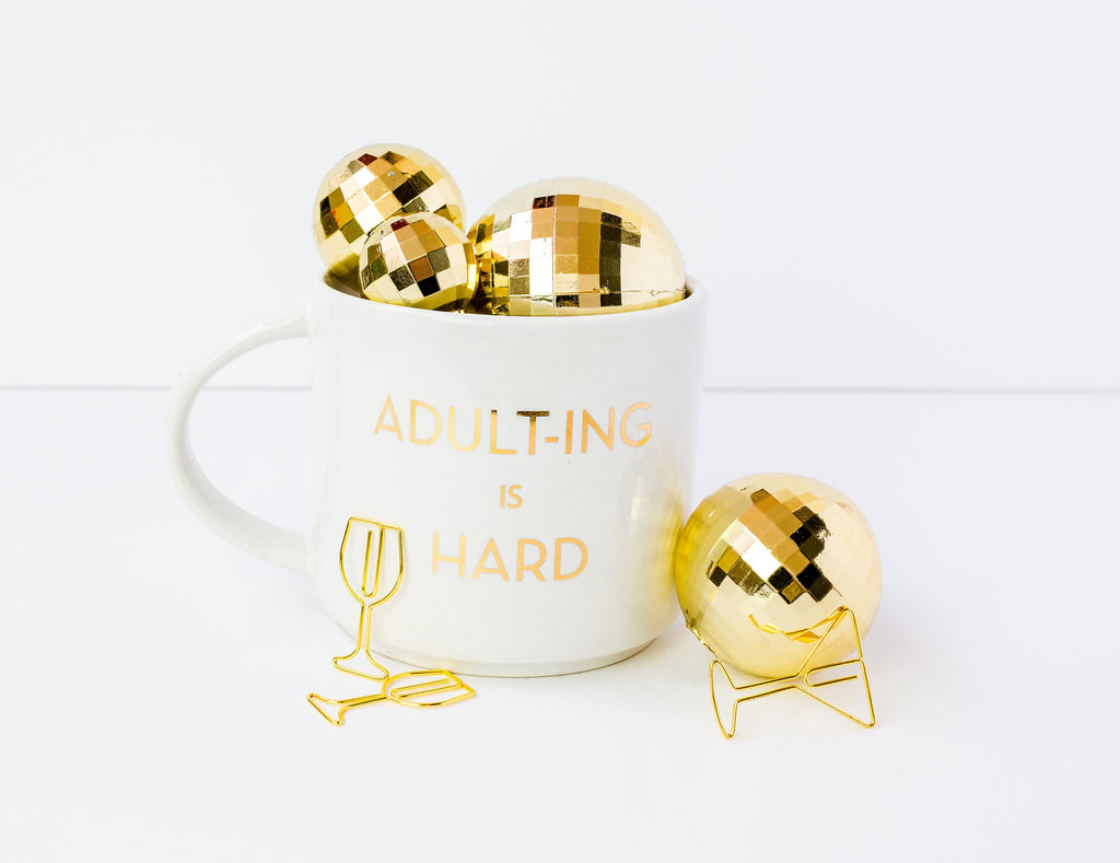 Chez Gagne Chez Gagné Adulting is Hard Metallic Gold Mug