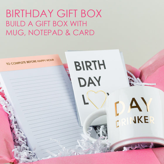 Birthday Gift Set - Mug, Notepad & Card