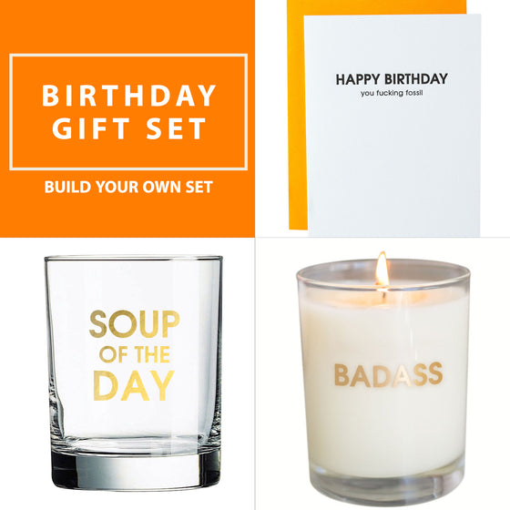 Birthday Gift Set - Rocks Glass, Candle & Card