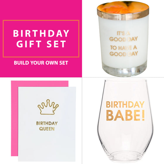 Birthday Gift Set - Wine Glass, Candle & Card