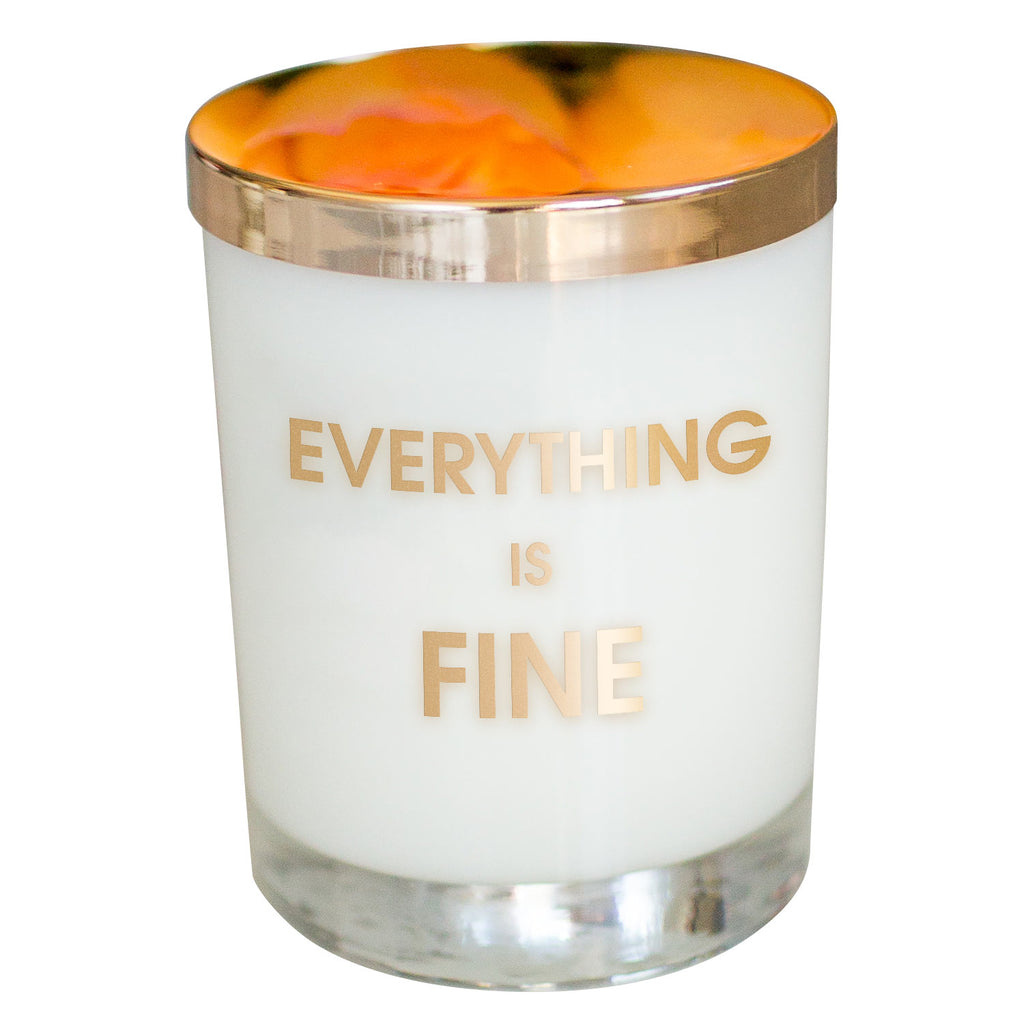 Everything is Fine Candle- Gold Foil Rocks Glass