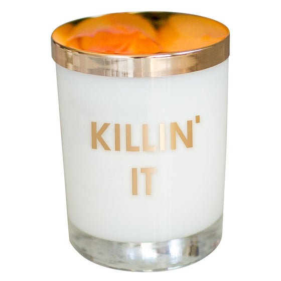 Chez Gagne Chez Gagné Killin' It Candle- Gold Foil Rocks Glass