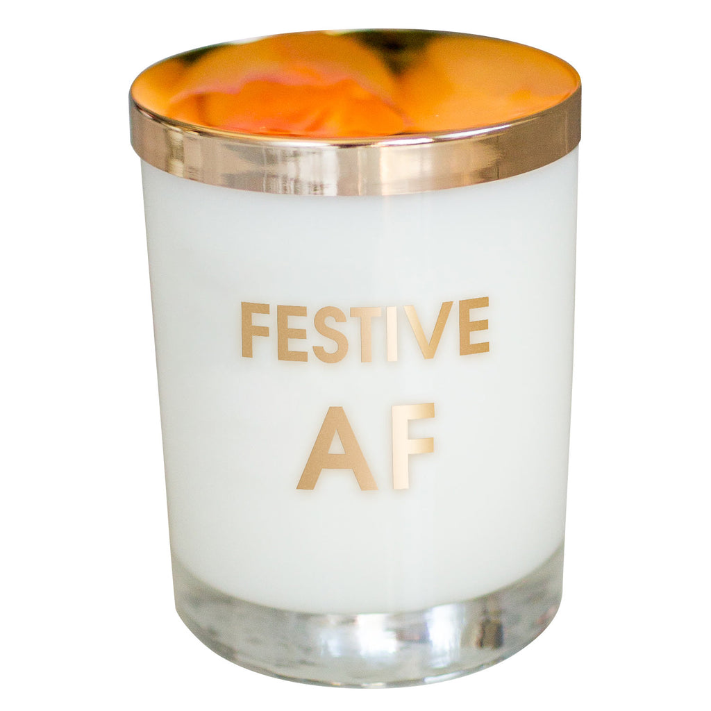 Festive AF Candle- Gold Foil Rocks Glass