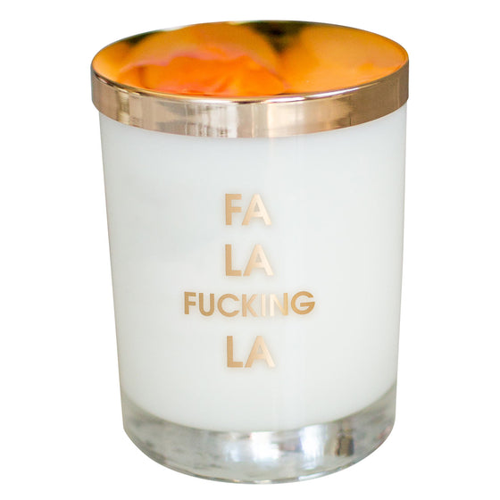 Fa La Fucking La Candle- Gold Foil Rocks Glass