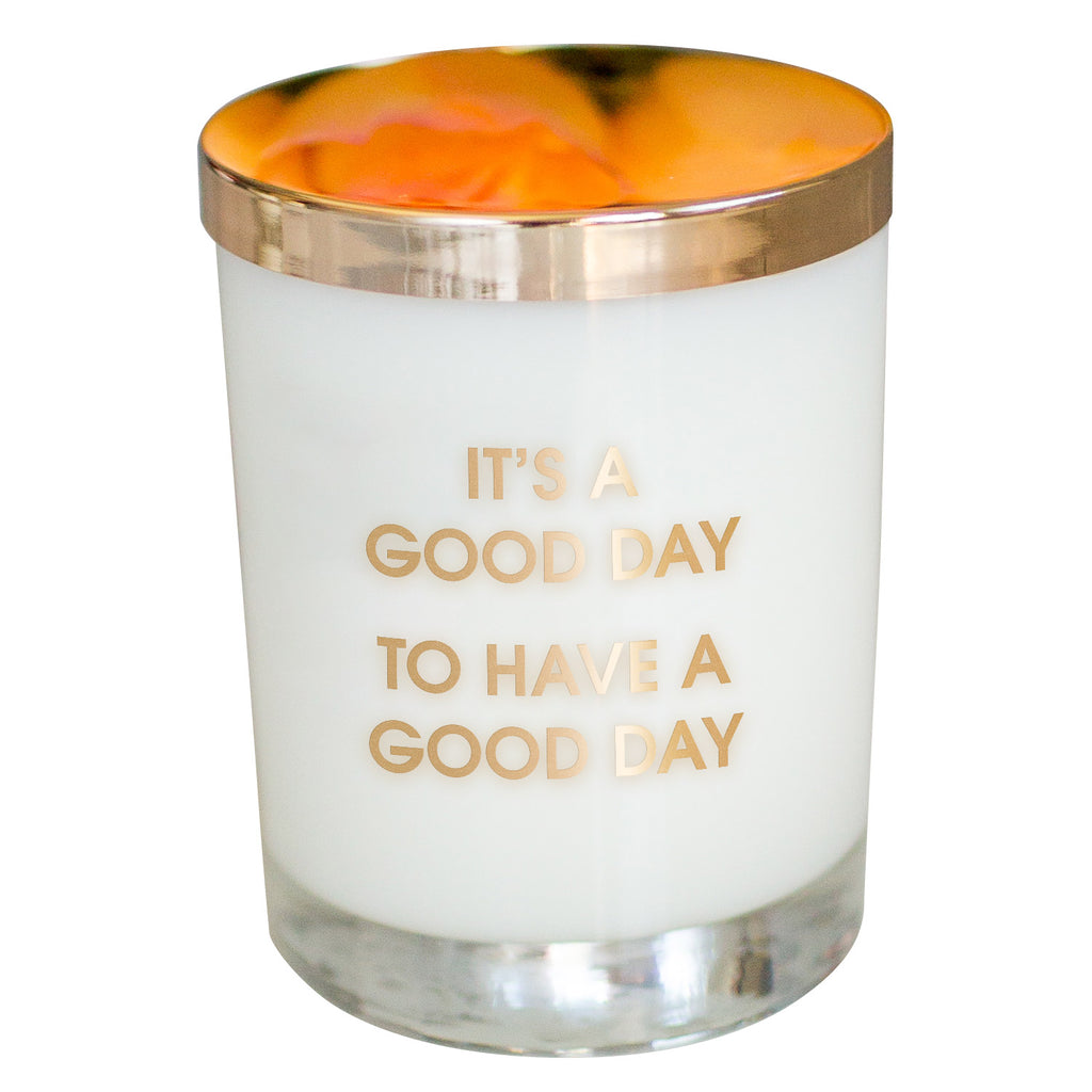 Chez Gagne Chez Gagné It's A Good Day Candle- Gold Foil Rocks Glass