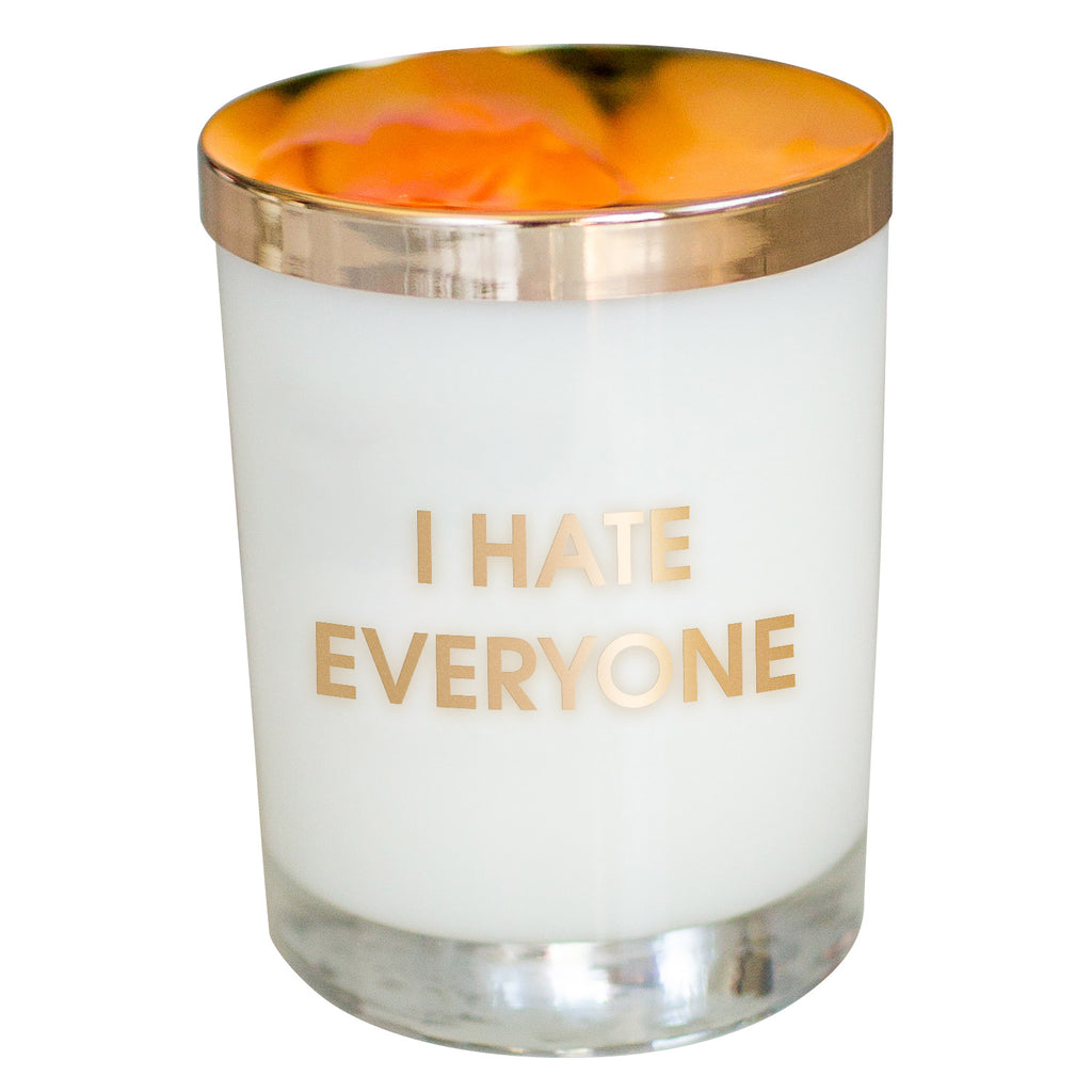 Chez Gagne Chez Gagné I Hate Everyone Candle- Gold Foil Rocks Glass