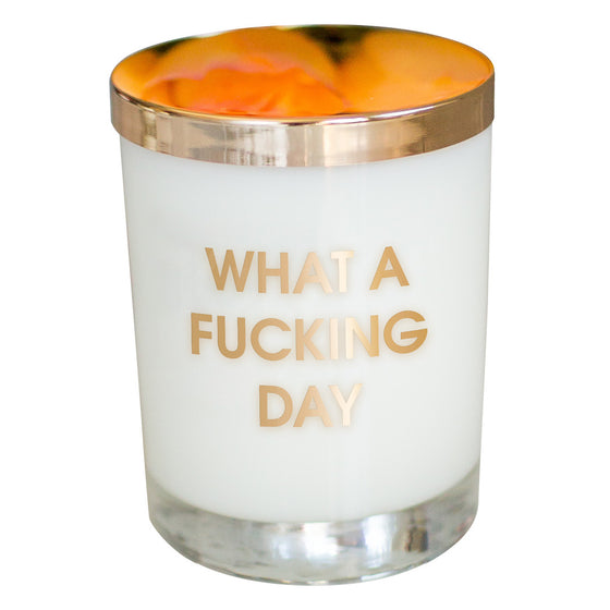 What A Fucking Day Candle- Gold Foil Rocks Glass
