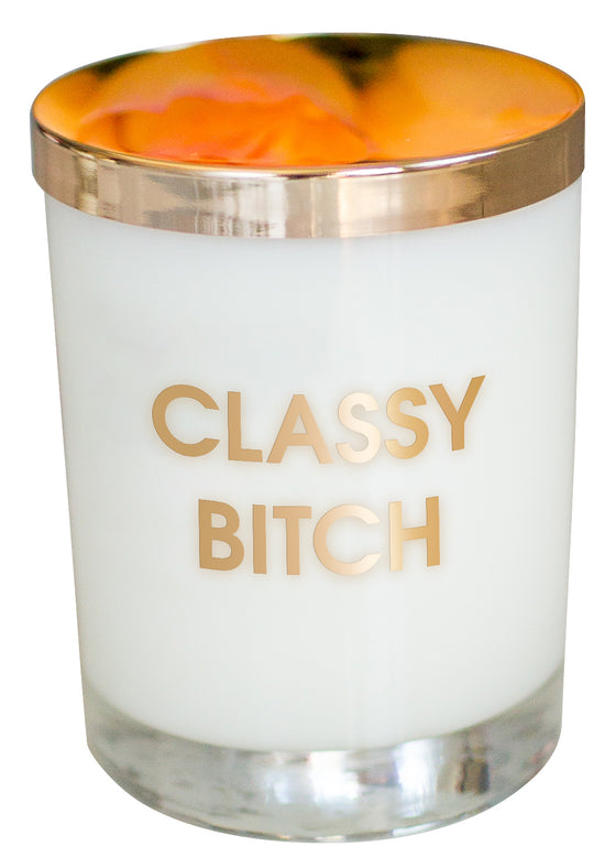 Classy Bitch Candle - Gold Foil Rocks Glass