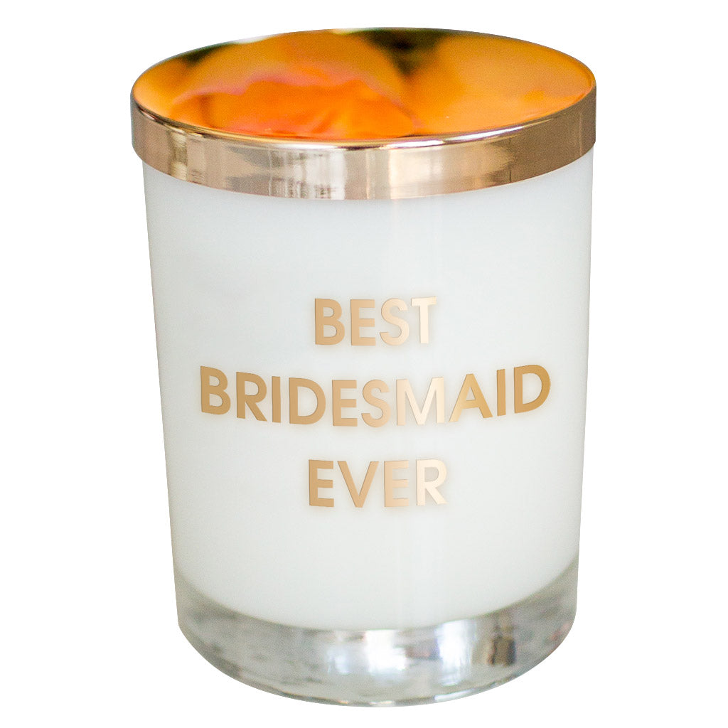 Chez Gagne Chez Gagné Best Bridesmaid Ever Candle - Gold Foil Rocks Glass
