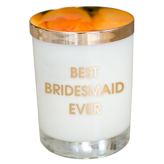 Best Bridesmaid Ever Candle - Gold Foil Rocks Glass (Slight Imperfections)