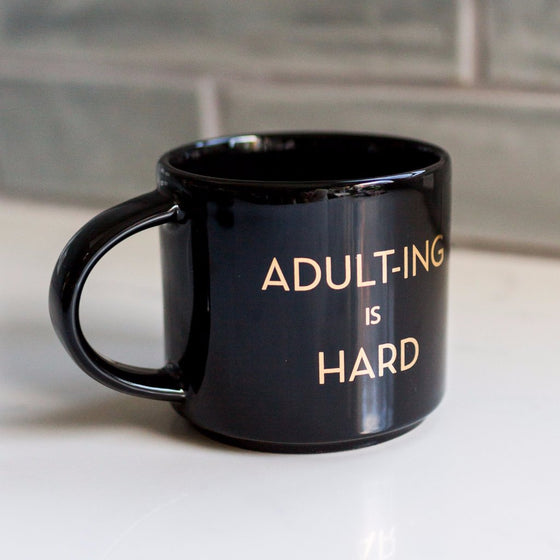 Adulting is Hard Metallic Gold Mug - Black