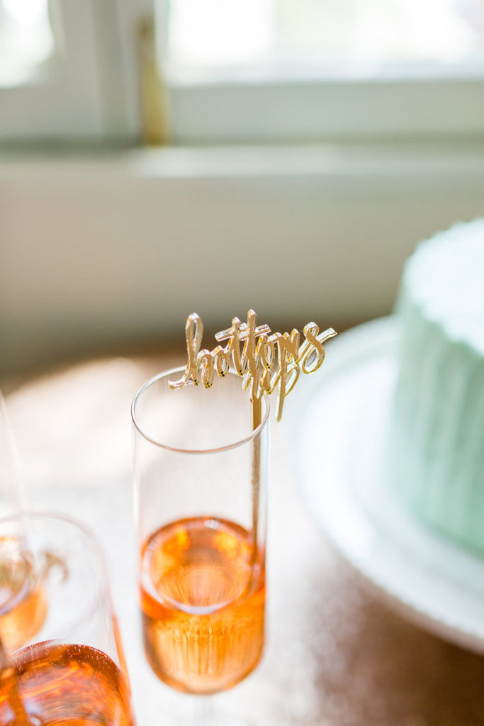 Bottoms Up Gold Acrylic Cocktail Stirrers & Cake Toppers