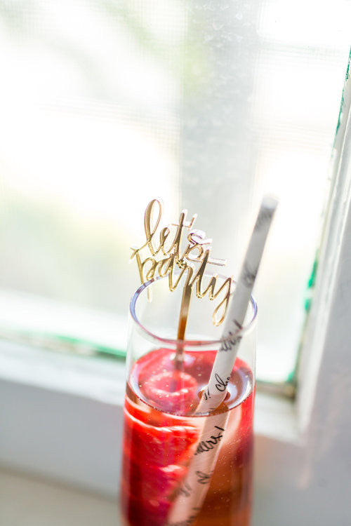 Let's Party Gold Acrylic Cocktail Stirrers & Cake Toppers