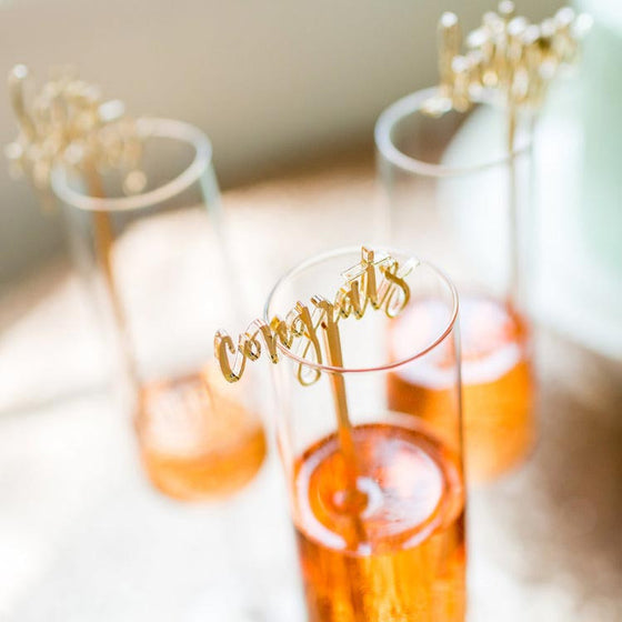 Congrats Gold Acrylic Cocktail Stirrers & Cake Toppers