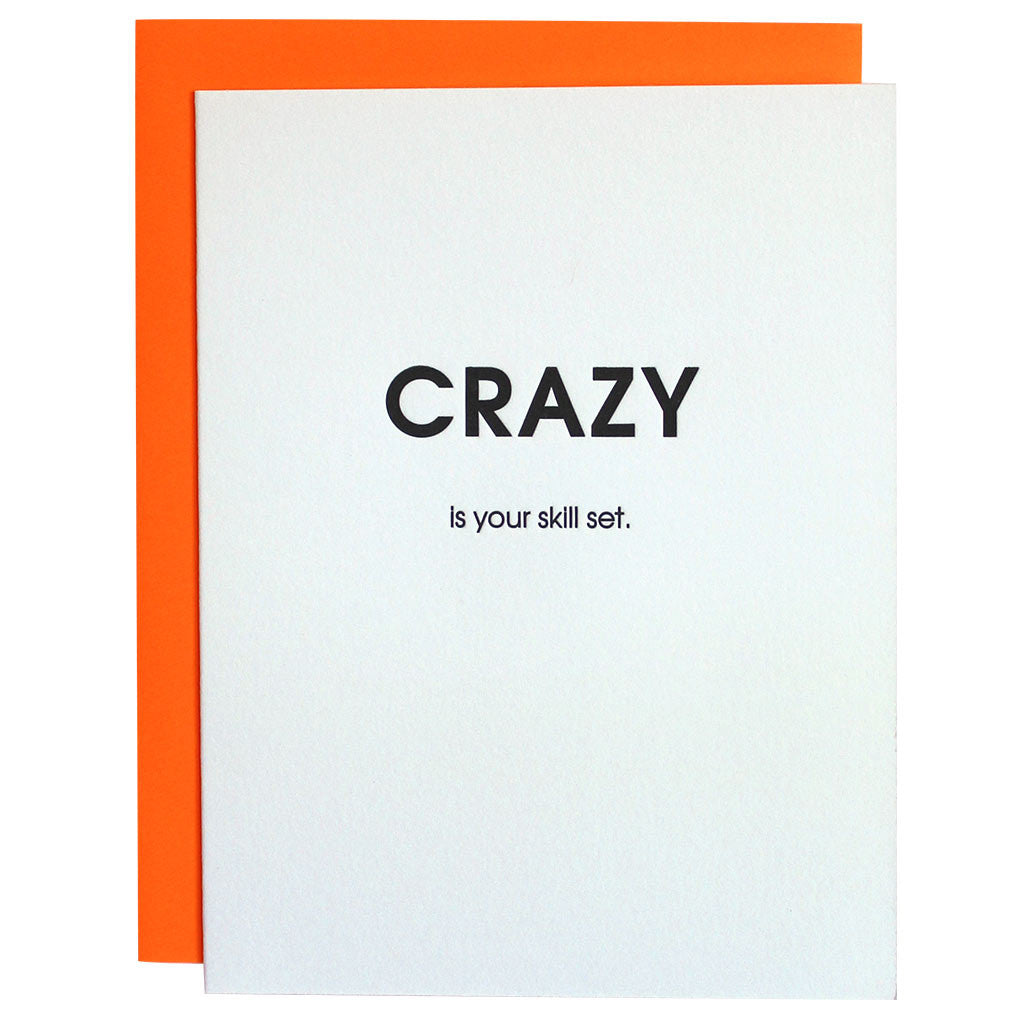 crazy skill set letterpress card chez gagn eacute  crazy skill set letterpress card