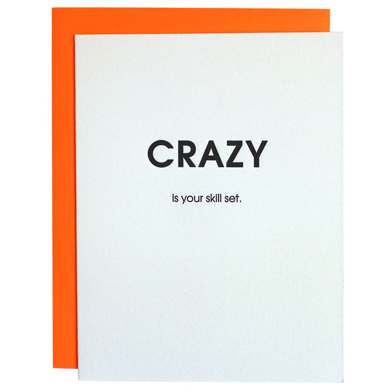 Crazy Skill Set Letterpress Card