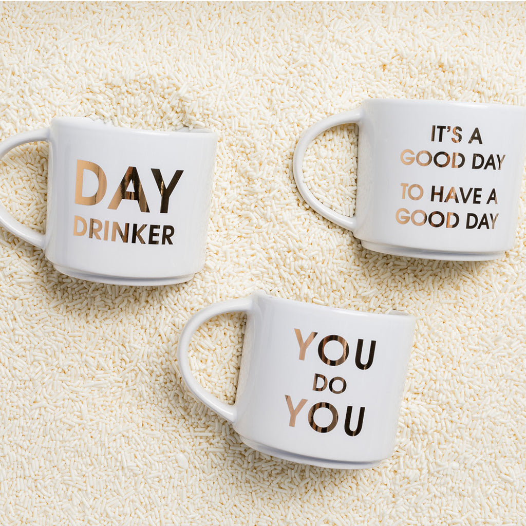 Morning Pep Talk Jumbo Coffee Mugs by Chez Gagne
