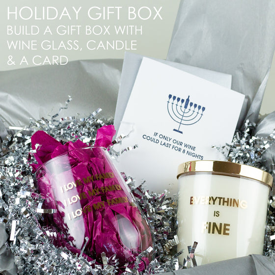 Holiday Gift Set - Candle, Wine Glass & Card