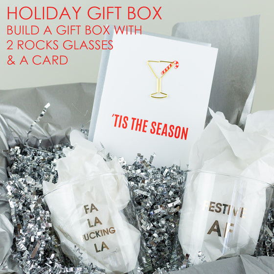 Holiday Gift Set - 2 Cocktail Glasses & Card