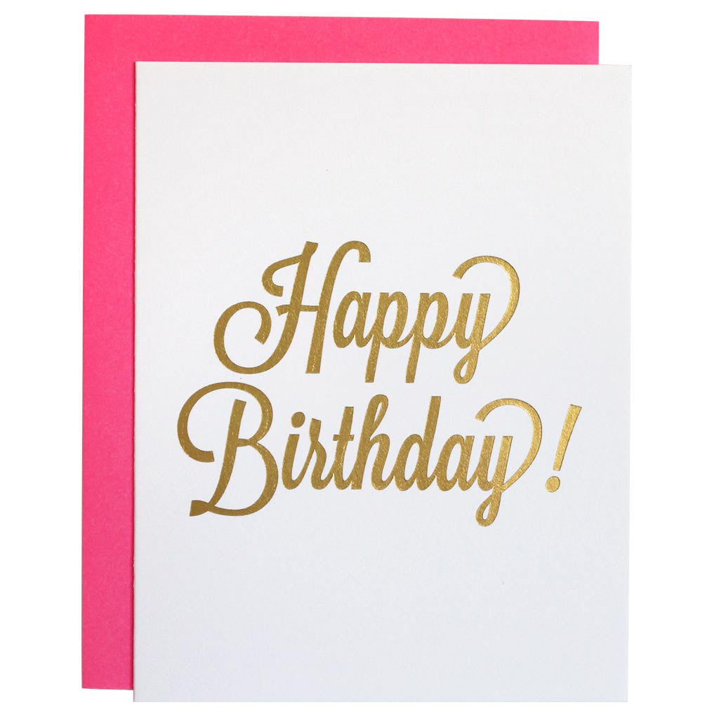 Happy Birthday Script Gold Foil Letterpress Card