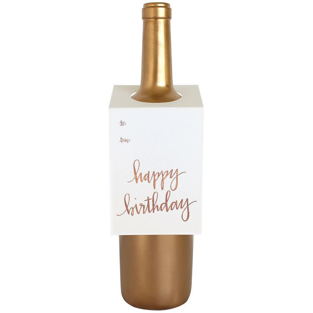 Happy Birthday Script Wine Spirit Tag