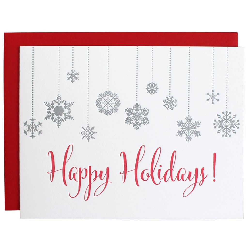Happy Holidays Snowflake Letterpress Card Chez Gagn