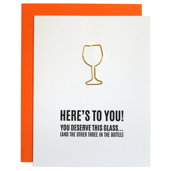 Here's to You Wine Glass Paper Clip Letterpress Card