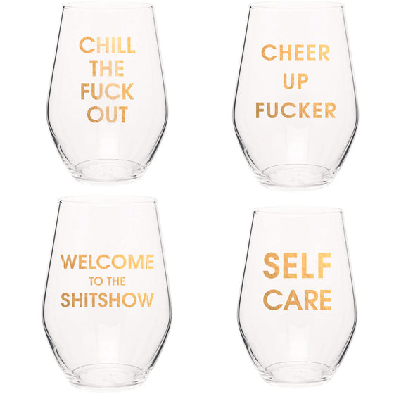 Set of 4 Slightly Imperfect Wine Glasses - Assorted