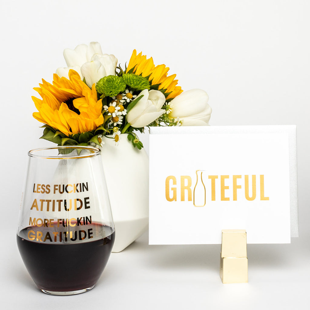 Less Attitude More Gratitude 19oz Stemless Wine Glass by Chez Gagne