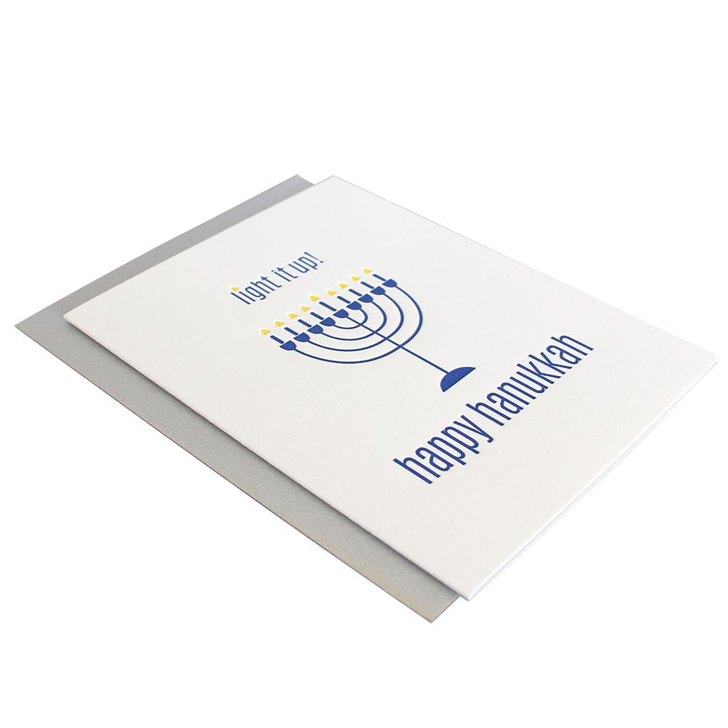 Light It Up Happy Hannukah Greeting Card Side View