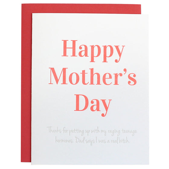 Mother's Day Raging Hormones Letterpress Card