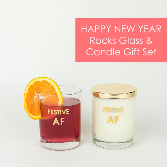 Happy New Year Gift Set - Candle and Rocks Glass