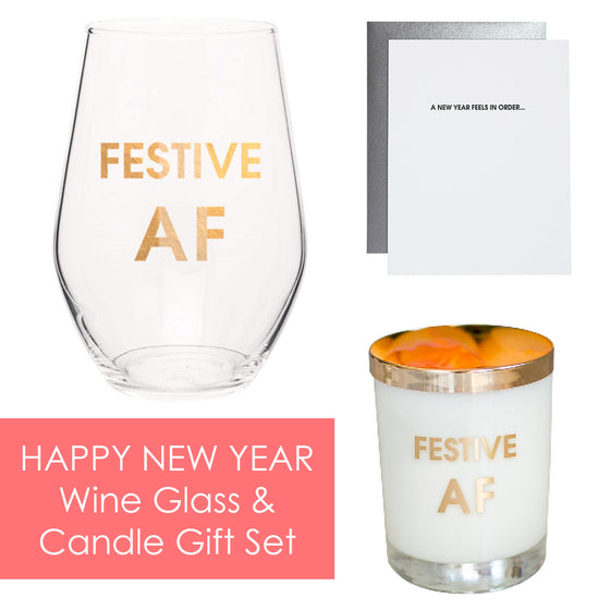 Happy New Year - Wine Glass and Candle Gift Set