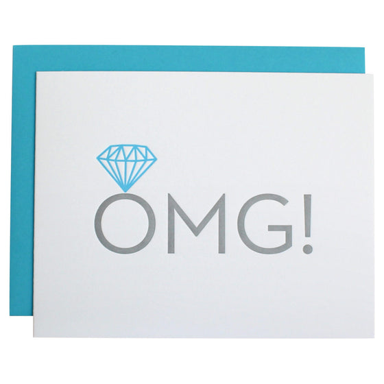 OMG Engagement Letterpress Card